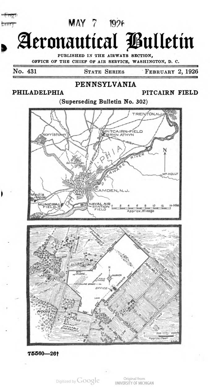 Pitcairn Field, Bryn Athyn, PA, Aeronautical Bulletin, February 2, 1926 (Source: Webmaster)