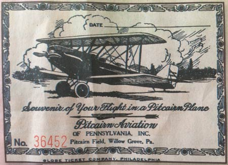 Souvenir of Your Flight at Pitcairn Field, Post-1926 (Source: D. Pitcairn)